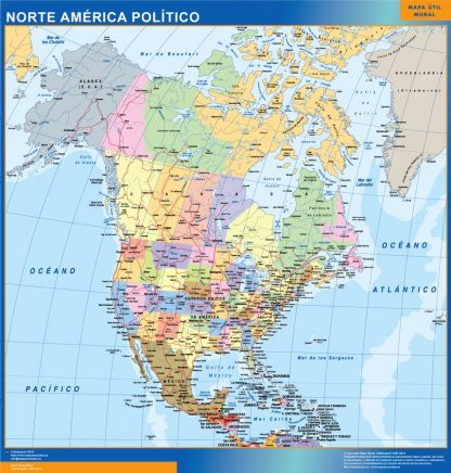 Mapa Norte America plastificado gigante