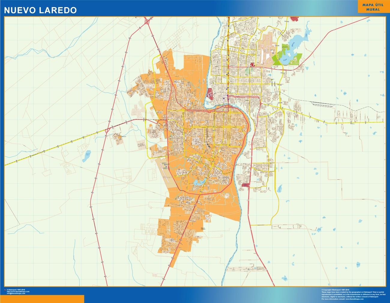 Mapa Nuevo Laredo en Mexico plastificado gigante