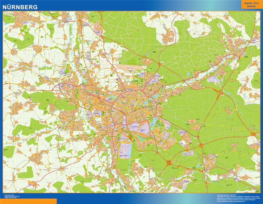 Mapa Nurnberg en Alemania plastificado gigante