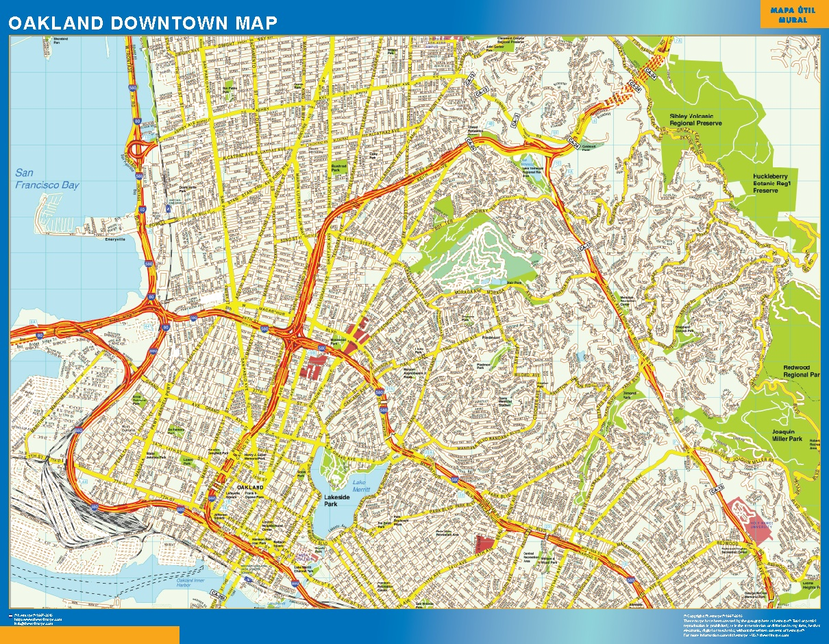 Mapa Oakland downtown plastificado gigante