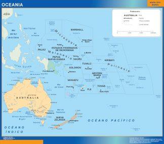 Mapa Oceania plastificado gigante