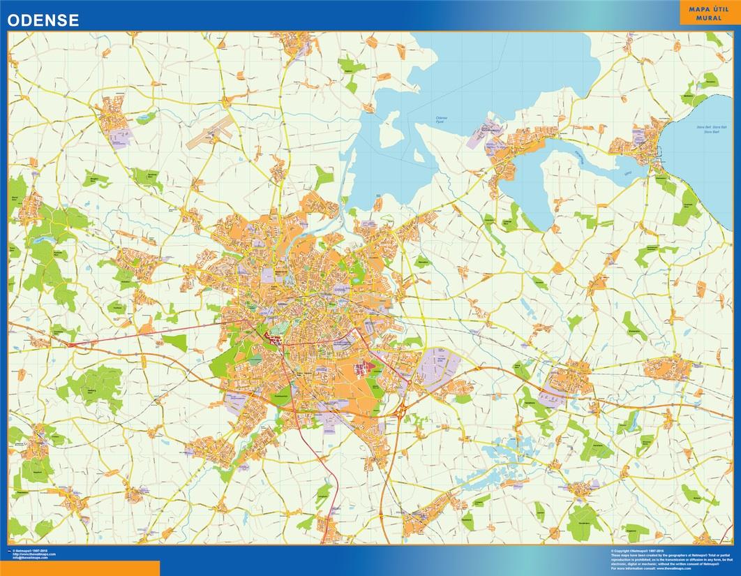Mapa Odense en Dinamarca plastificado gigante