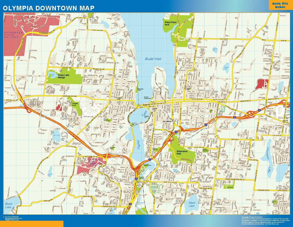Mapa Olympia downtown plastificado gigante