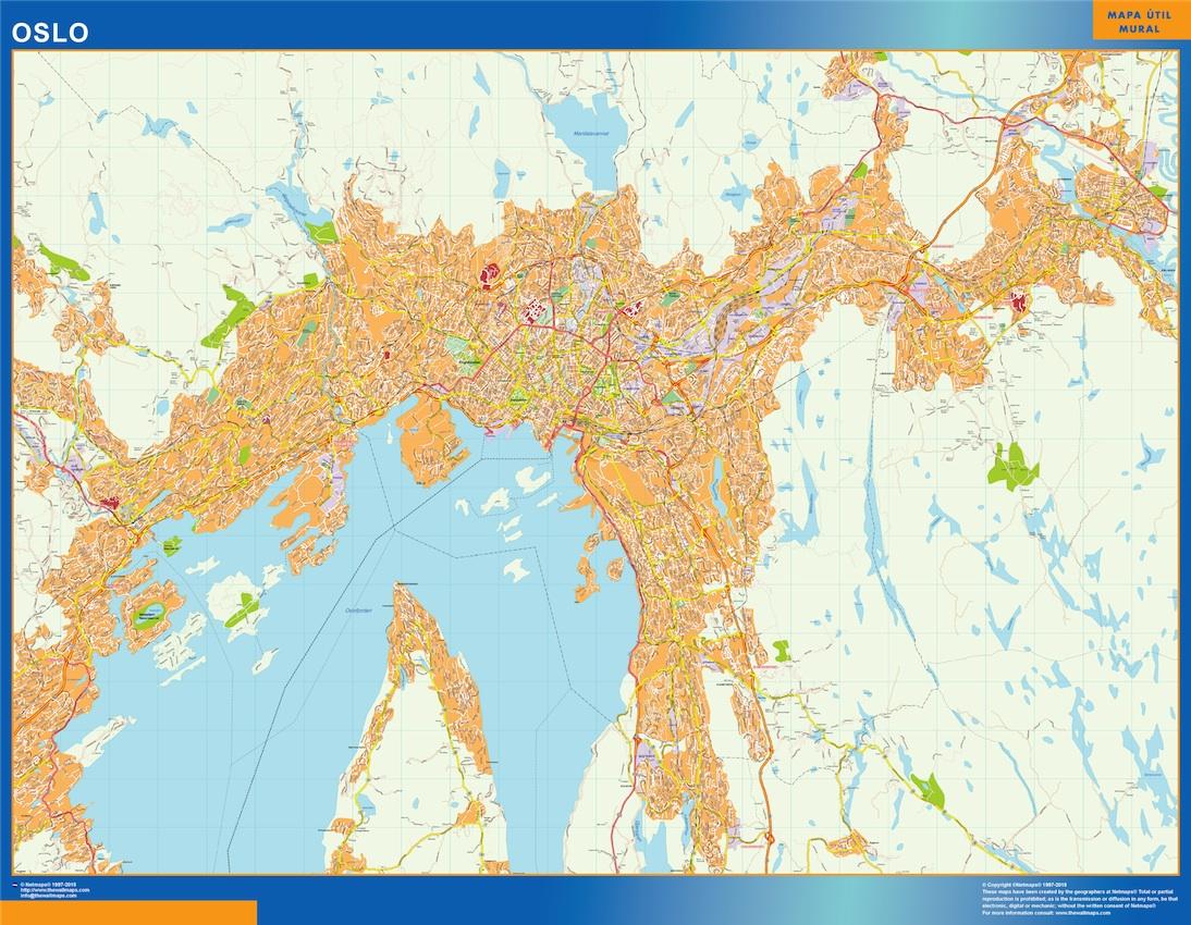 Mapa Oslo en Noruega plastificado gigante