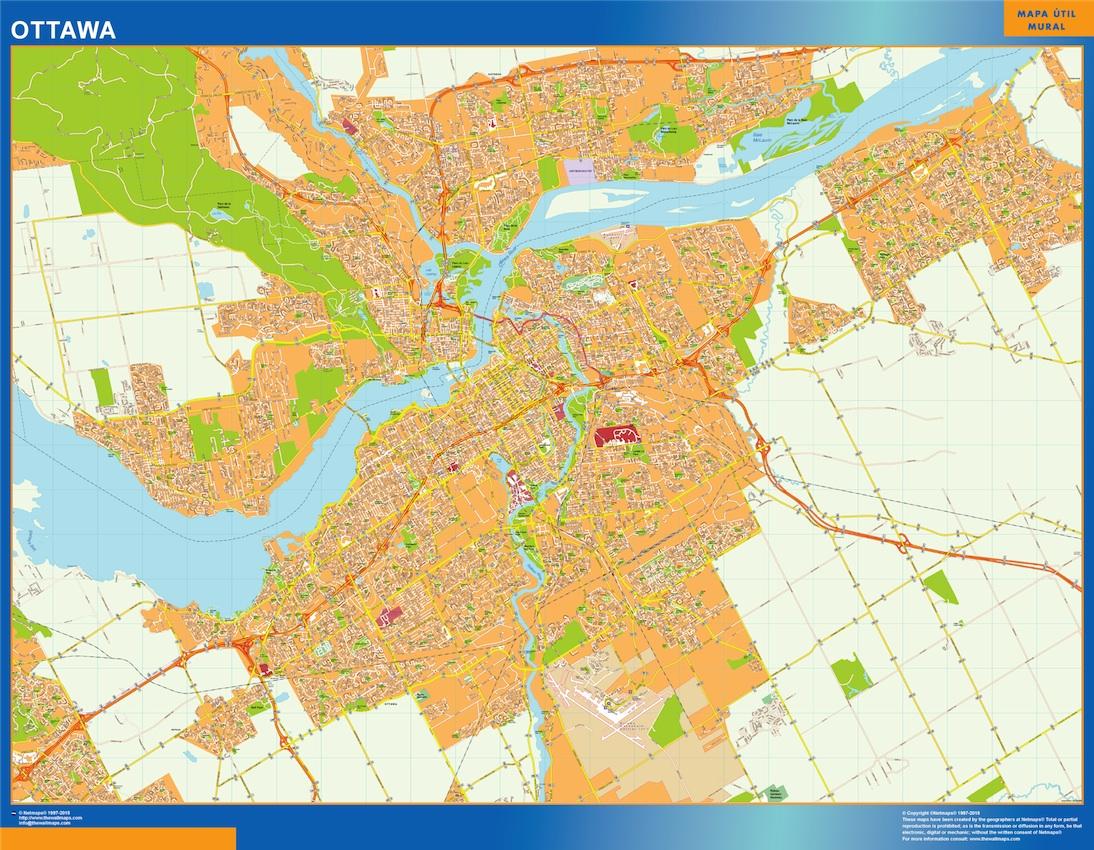 Mapa Ottawa en Canada plastificado gigante