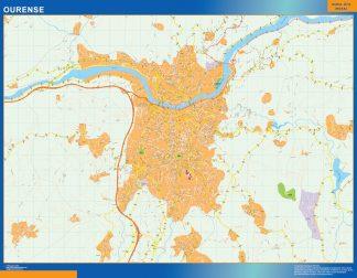 Mapa Ourense callejero plastificado gigante