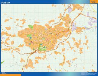 Mapa Oviedo callejero plastificado gigante