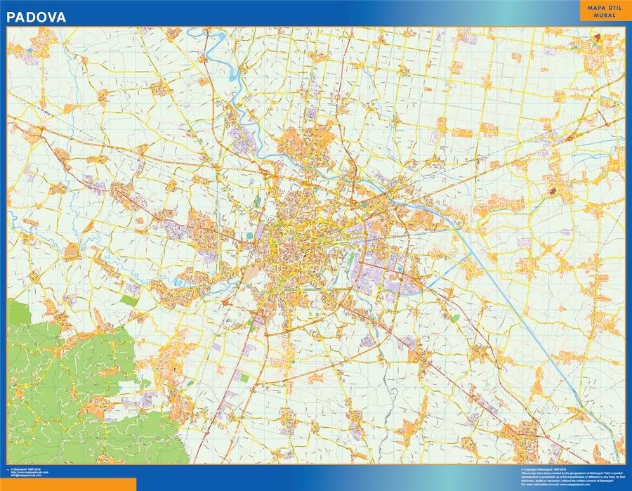 Mapa Padova plastificado gigante