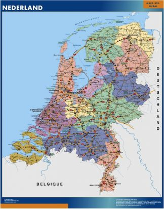 Mapa Paises Bajos plastificado gigante
