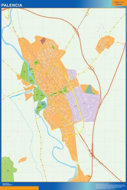 Mapa Palencia callejero plastificado gigante