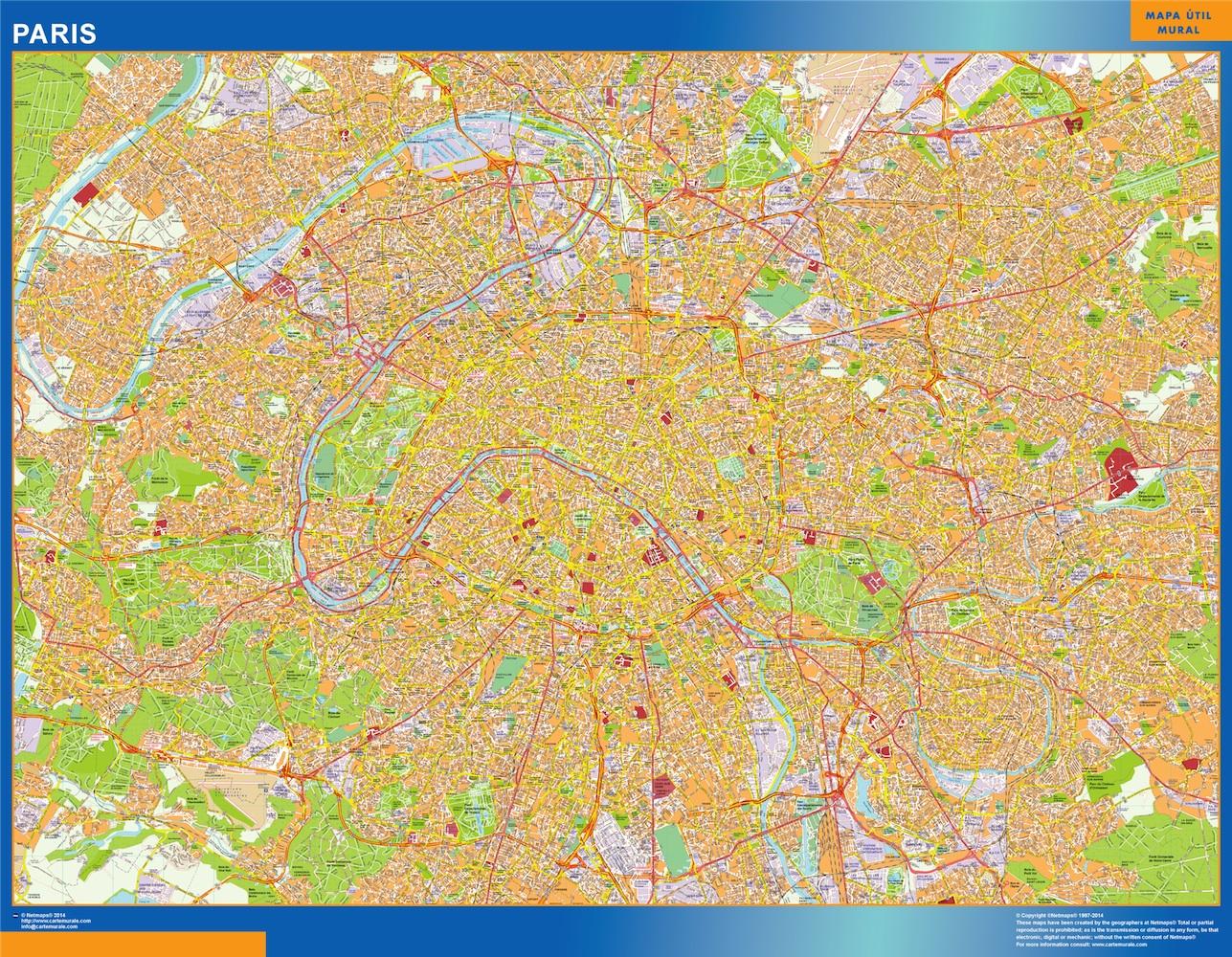 Mapa Paris en Francia plastificado gigante