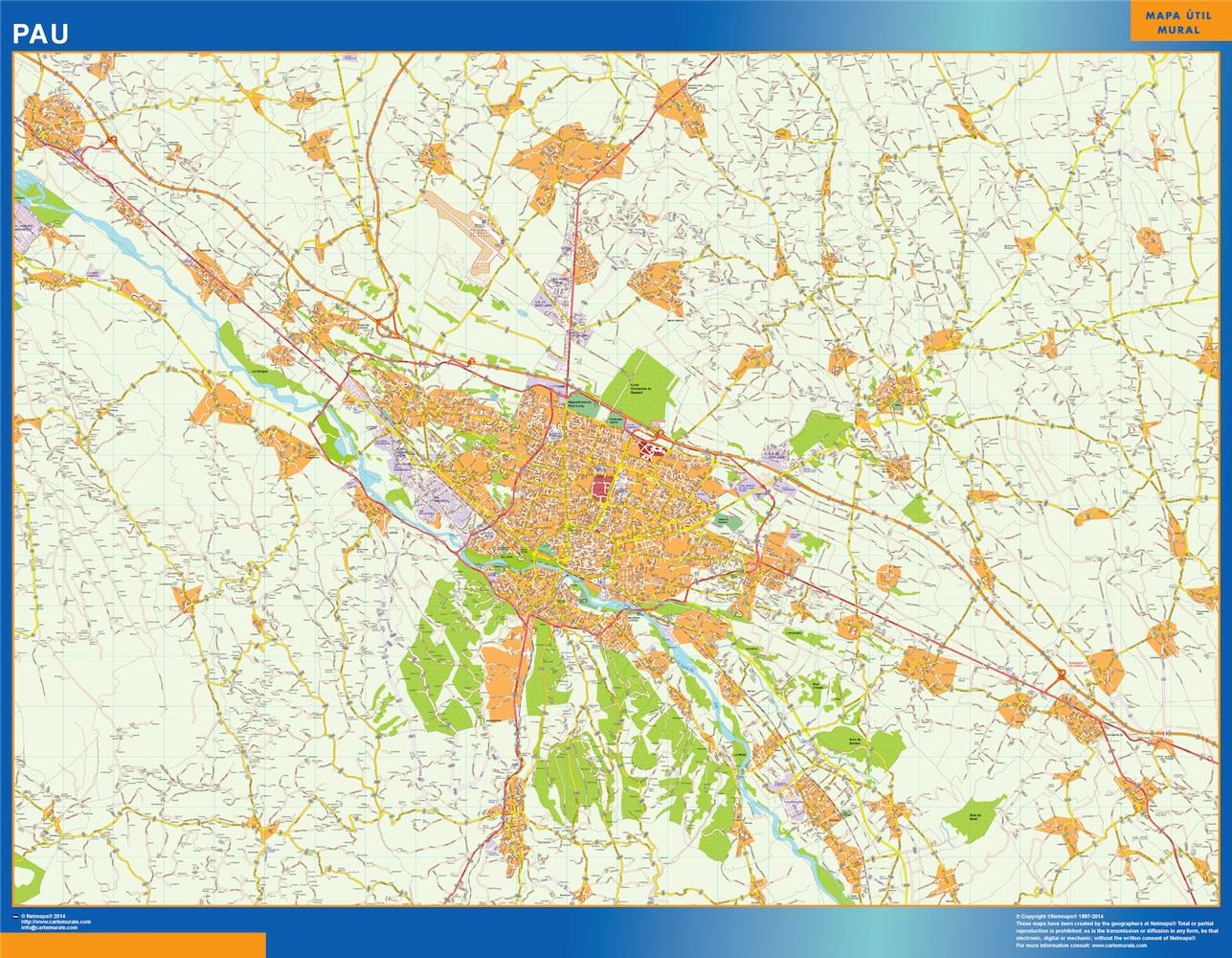Mapa Pau en Francia plastificado gigante