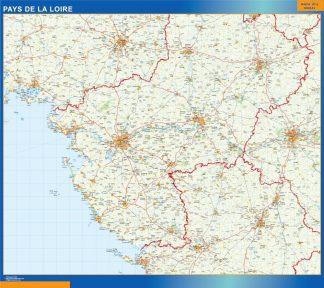 Mapa Pays De La Loire en Francia plastificado gigante
