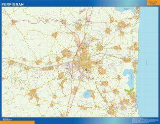 Mapa Perpignan en Francia plastificado gigante