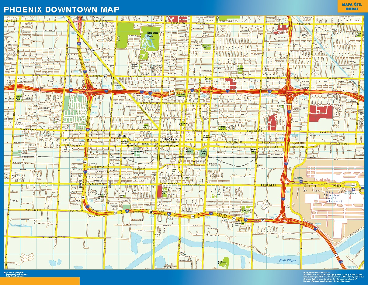 Mapa Phoenix downtown plastificado gigante