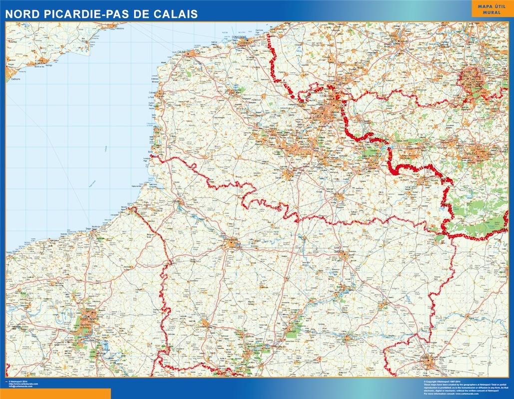 Mapa Picardie Pas Calais en Francia plastificado gigante