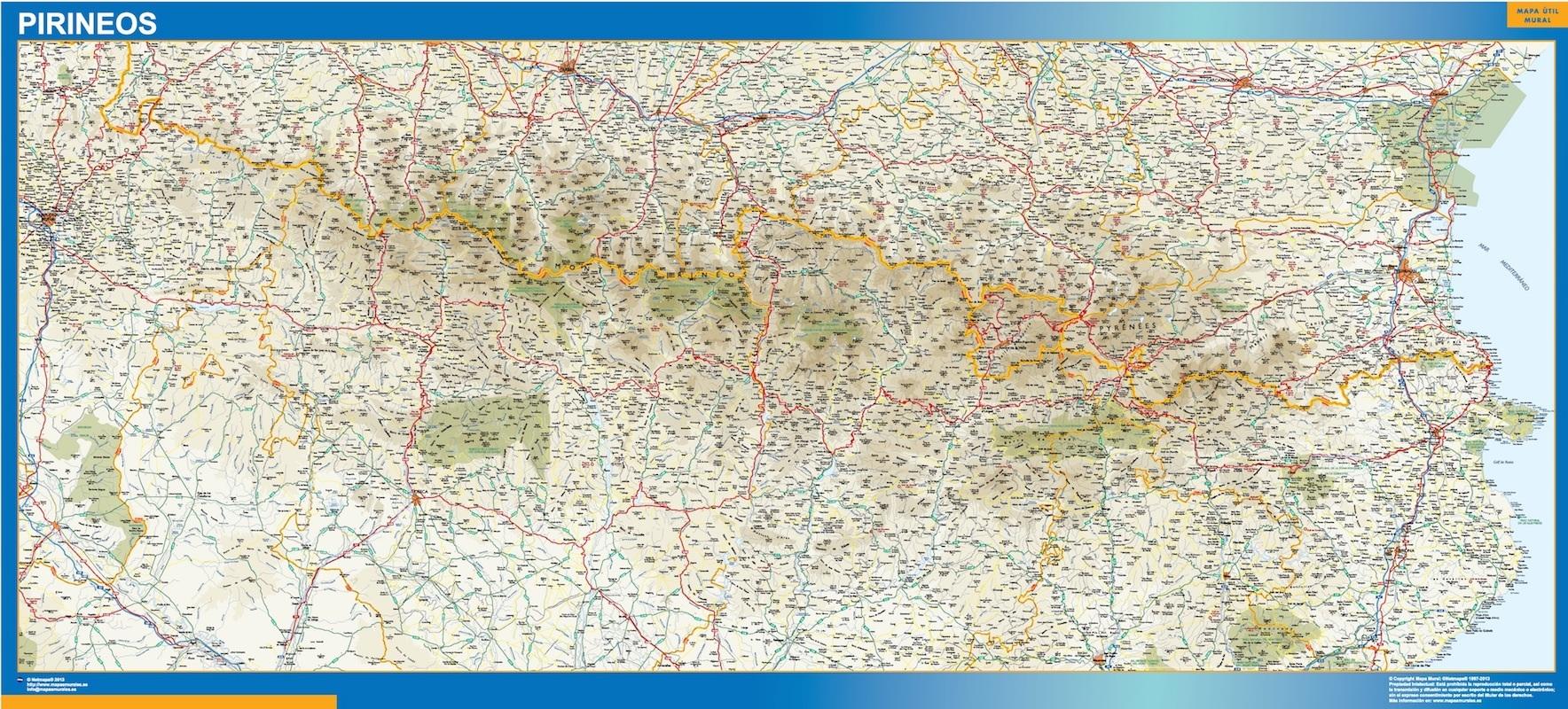 Mapa Pirineos plastificado gigante
