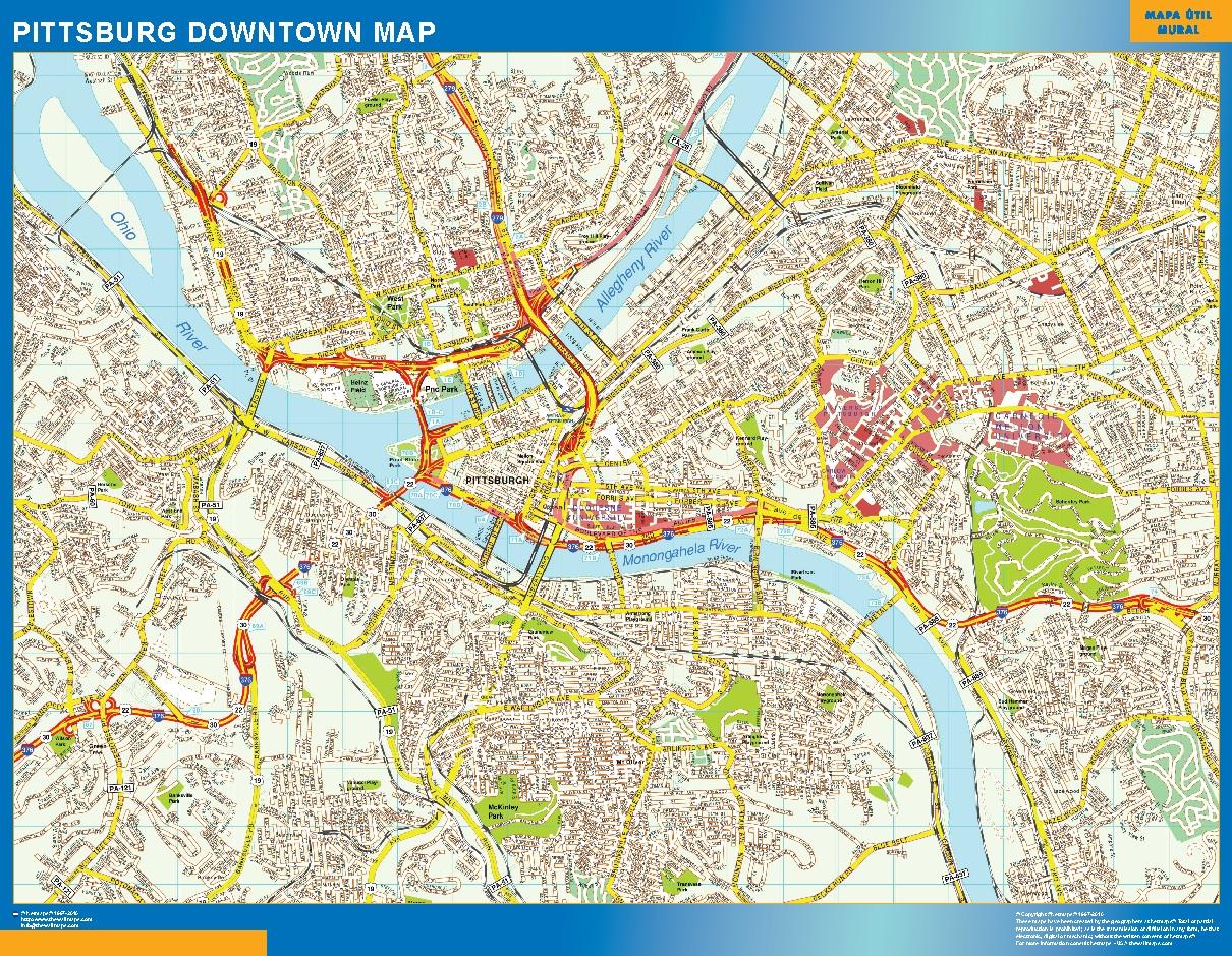 Mapa Pittsburg downtown plastificado gigante