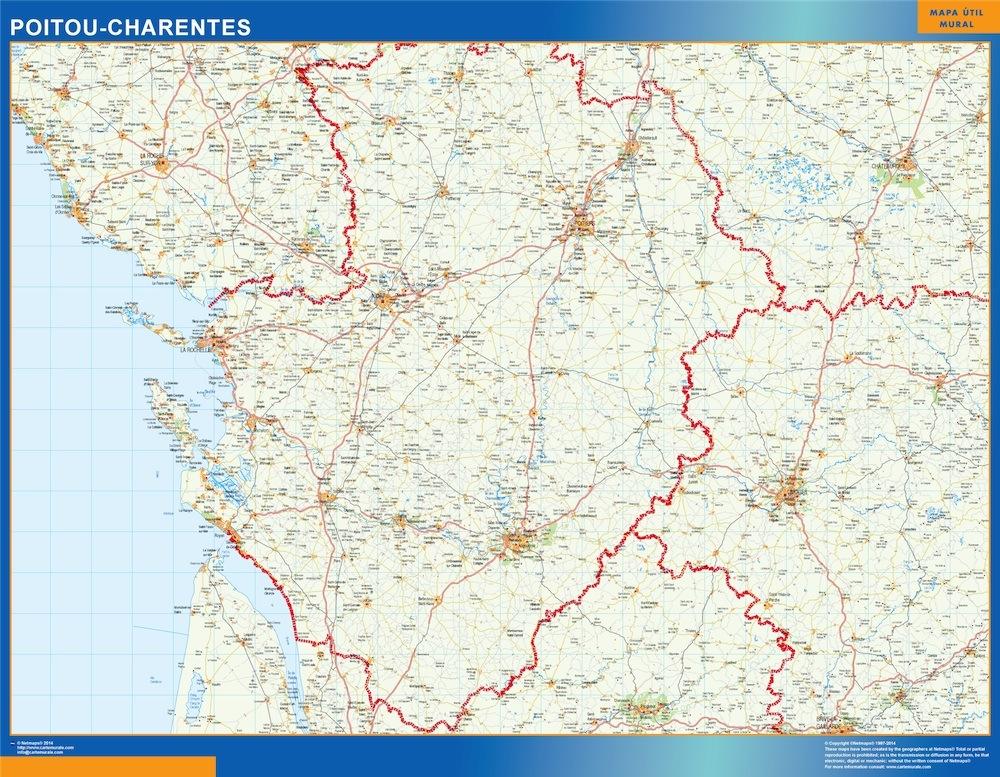 Mapa Poitou Charentes en Francia plastificado gigante