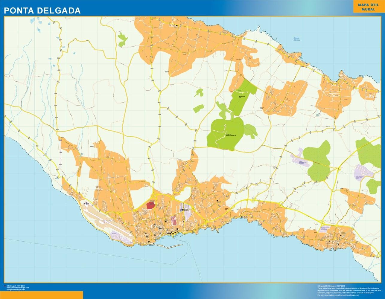 Mapa Ponta Delgada en Portugal plastificado gigante