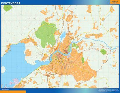 Mapa Pontevedra callejero plastificado gigante