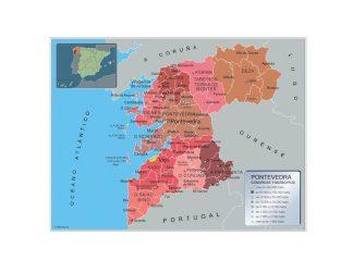 Mapa Pontevedra por municipios plastificado gigante