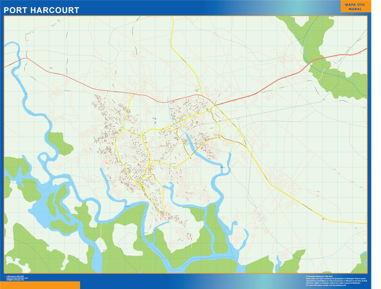 Mapa Port Harcourt en Nigeria plastificado gigante