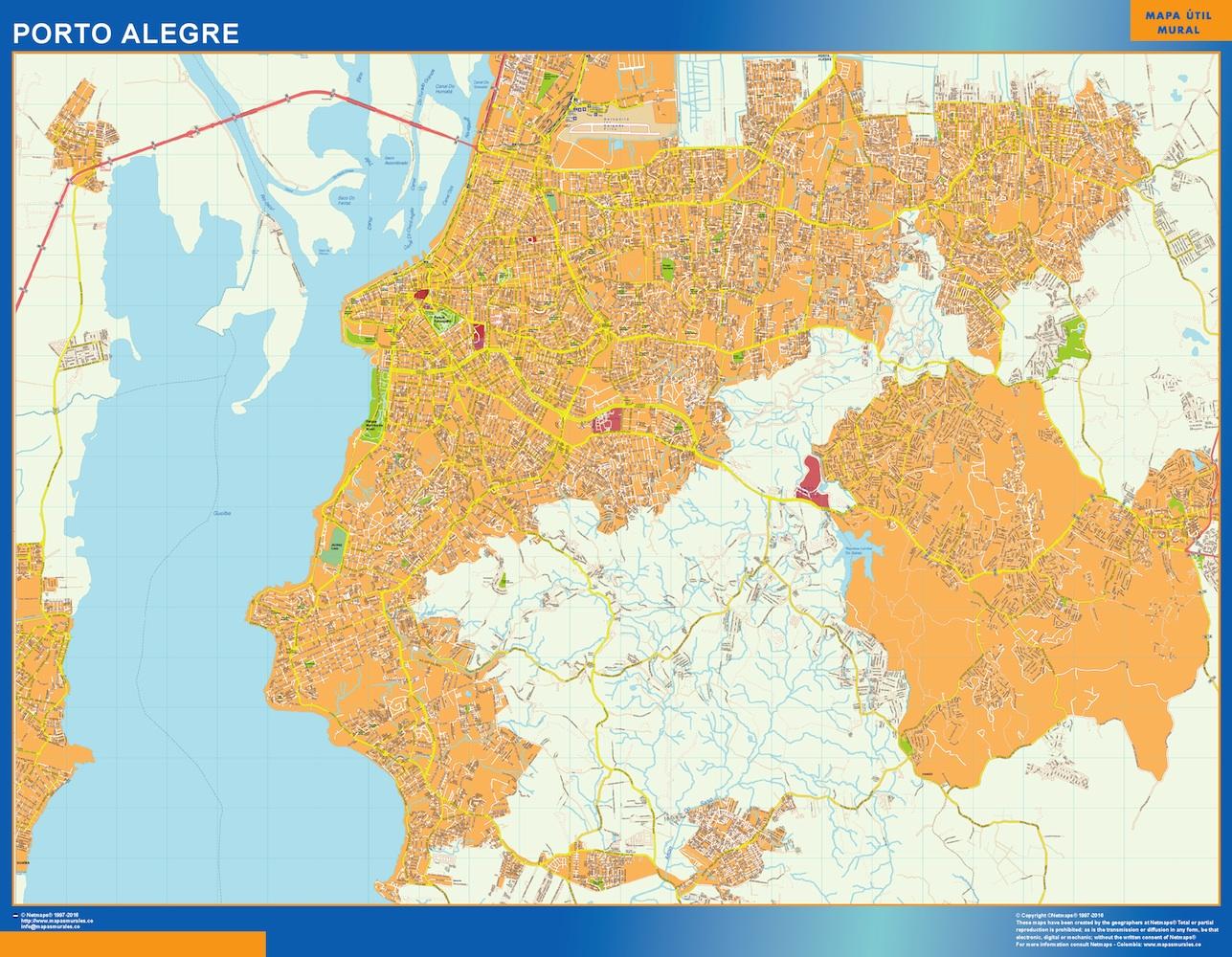 Mapa Porto Alegre Brasil plastificado gigante