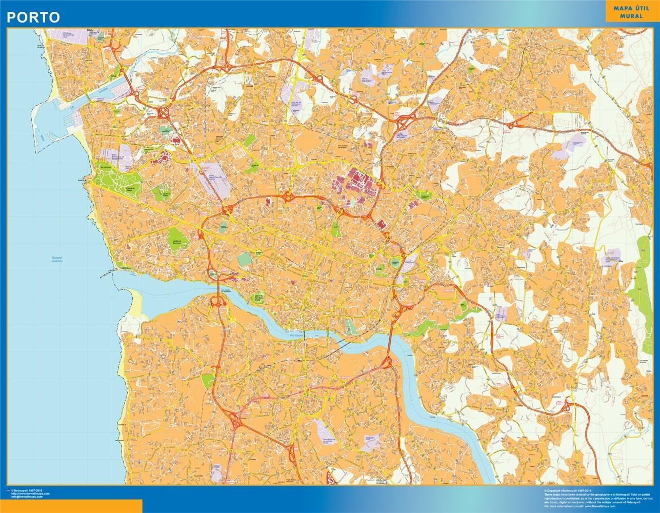 Mapa Porto en Portugal plastificado gigante
