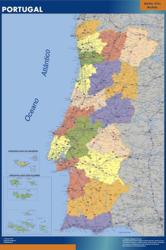 Mapa Portugal plastificado plastificado gigante