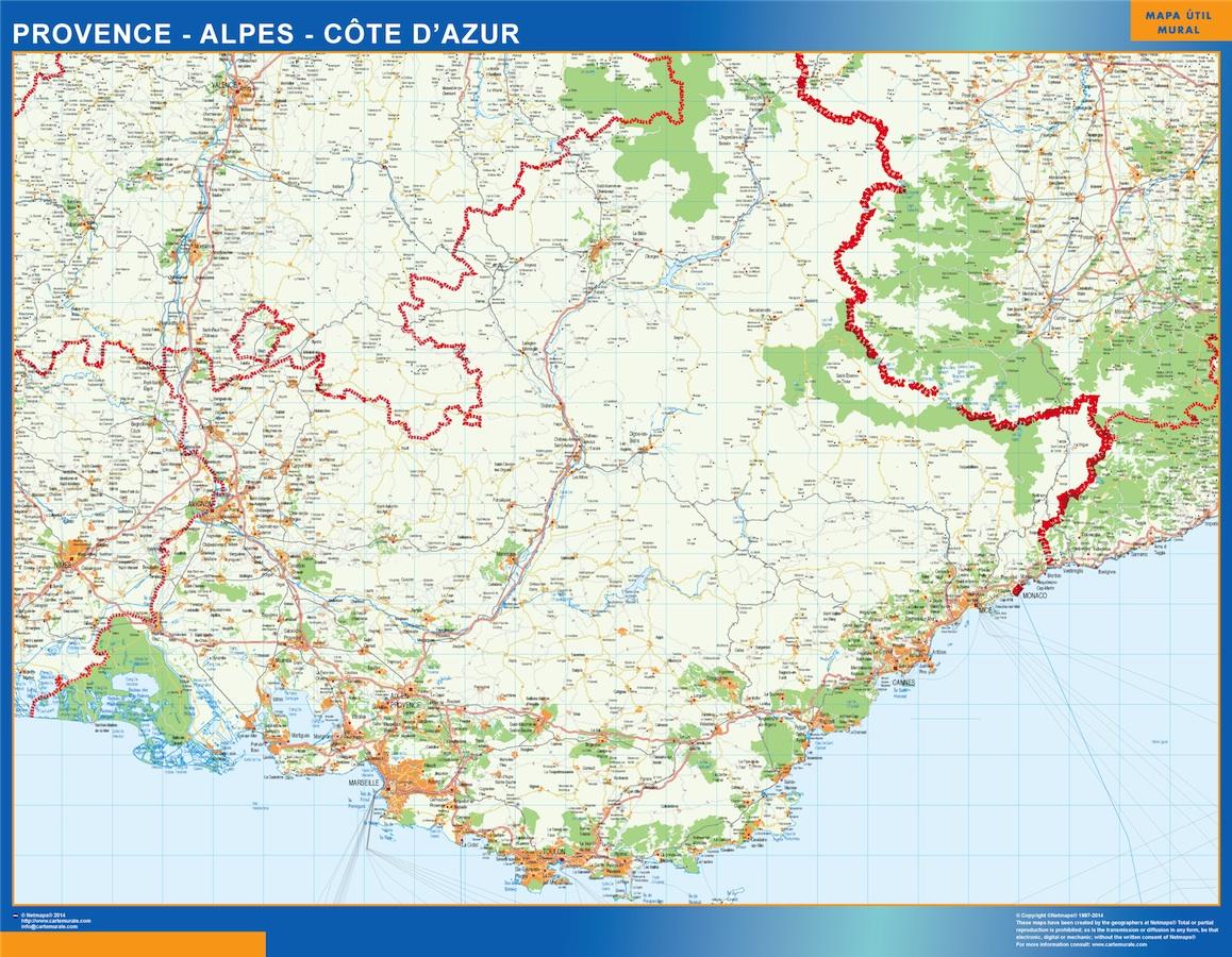 Mapa Provence Alpes Cote Azur en Francia plastificado gigante
