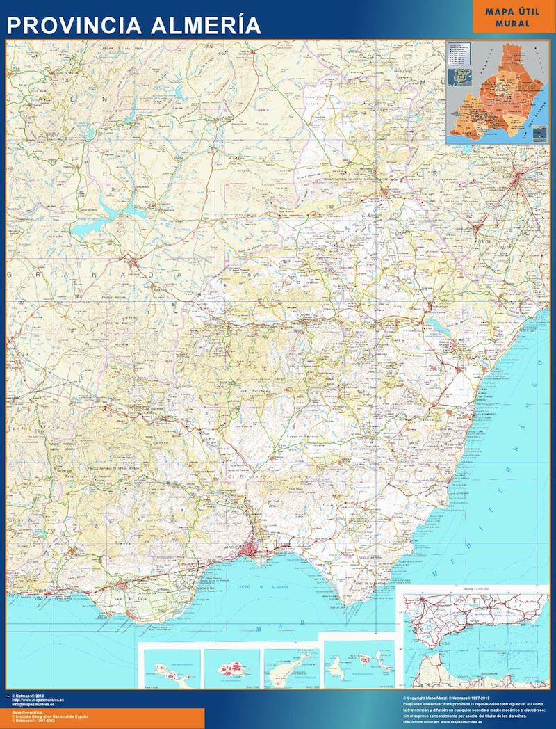Mapa Provincia Almeria plastificado gigante