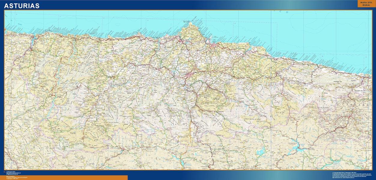 Mapa Provincia Asturias plastificado gigante