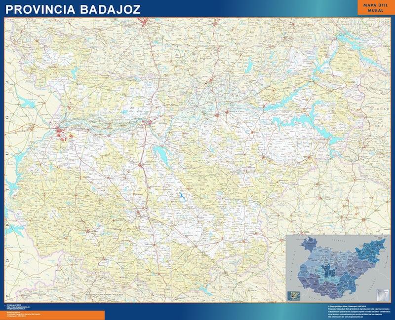 Mapa Provincia Badajoz plastificado gigante