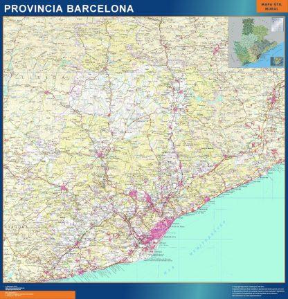 Mapa Provincia Barcelona plastificado gigante