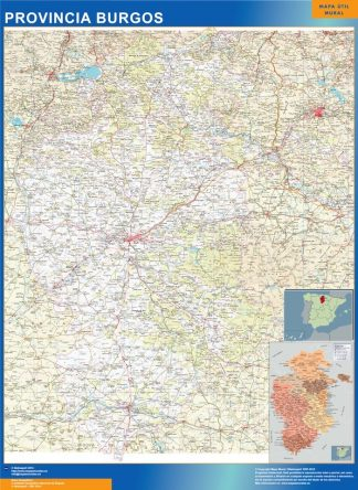 Mapa Provincia Burgos plastificado gigante