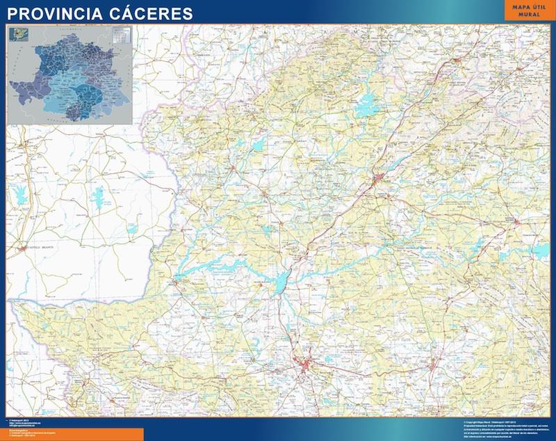 Mapa Provincia Caceres plastificado gigante