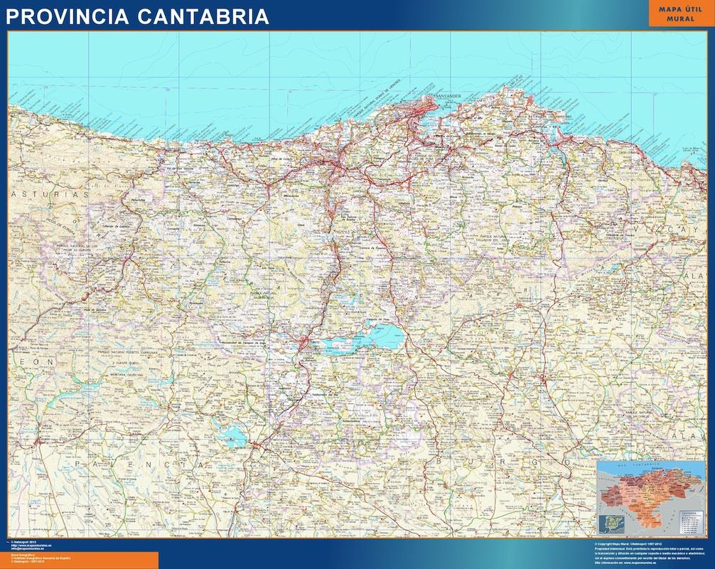 Mapa Provincia Cantabria plastificado gigante