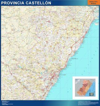 Mapa Provincia Castellon plastificado gigante
