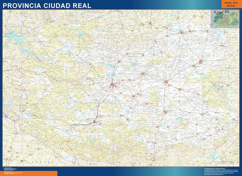 Mapa Provincia Ciudad Real plastificado gigante