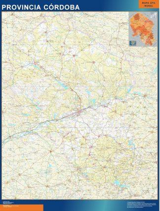 Mapa Provincia Cordoba plastificado gigante