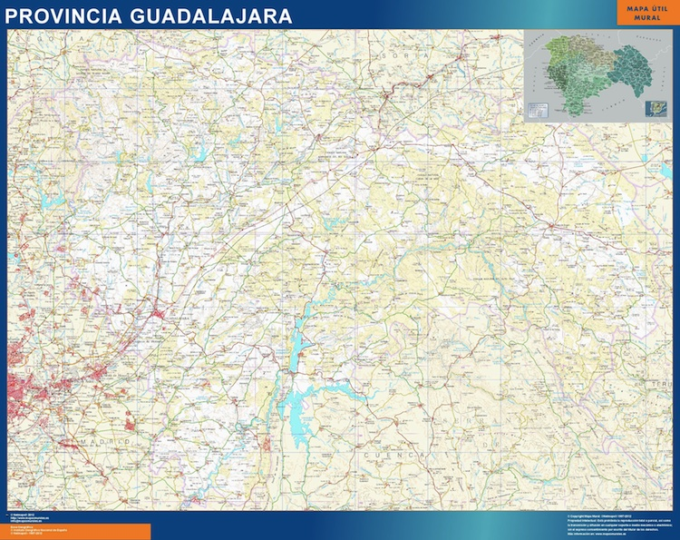 Mapa Provincia Guadalajara plastificado gigante