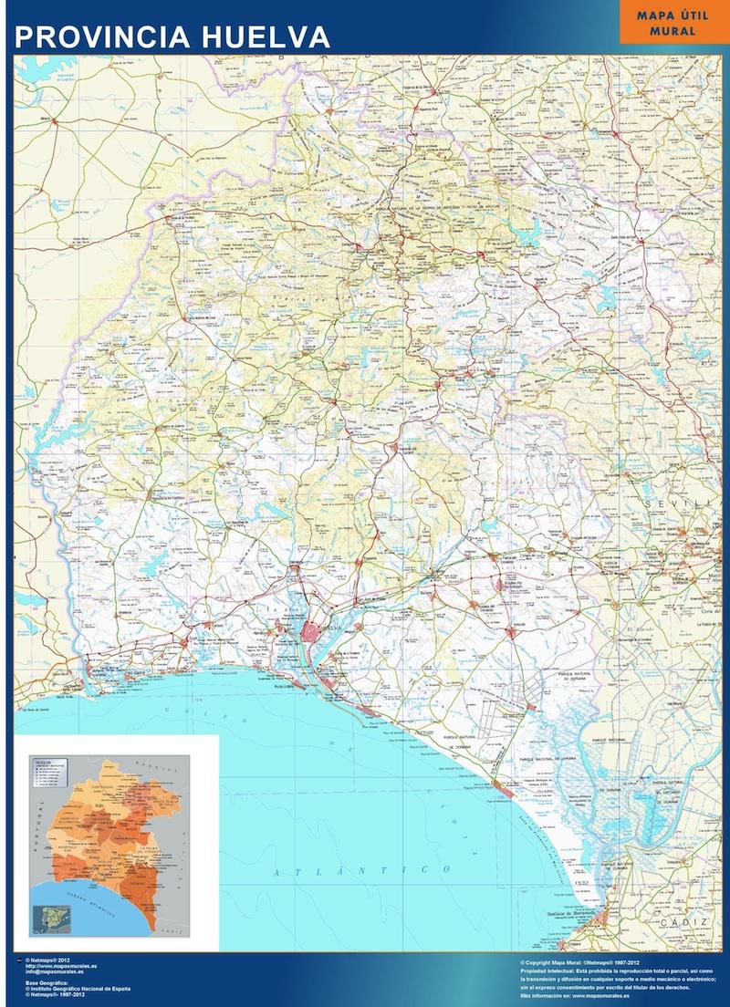 Mapa Provincia Huelva plastificado gigante