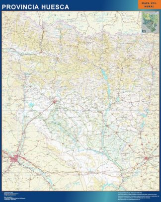 Mapa Provincia Huesca plastificado gigante