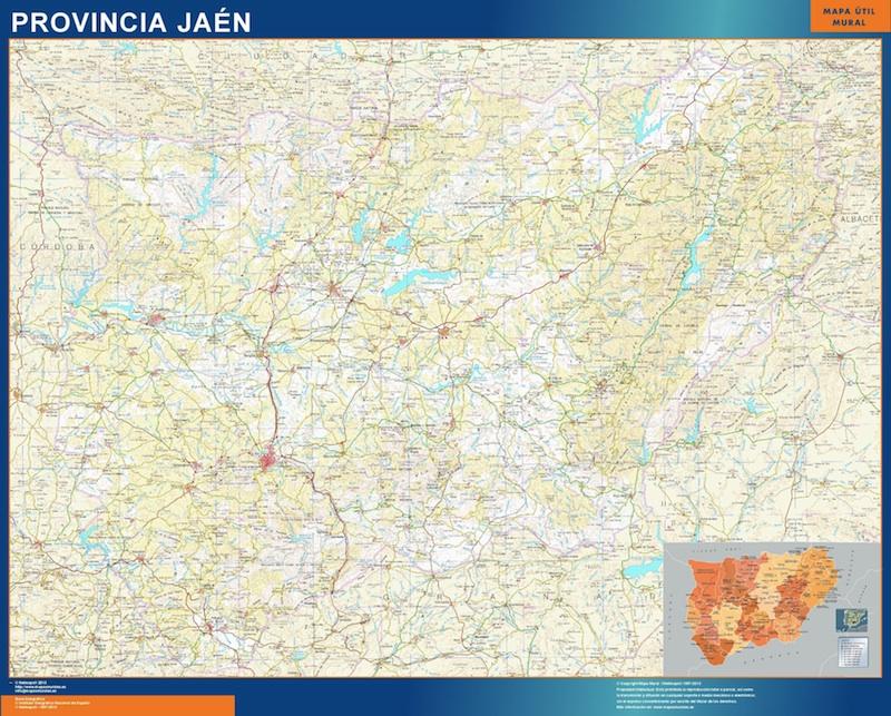 Mapa Provincia Jaen plastificado gigante