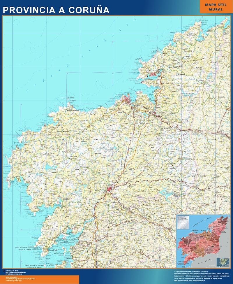 Mapa Provincia La Coruna plastificado gigante