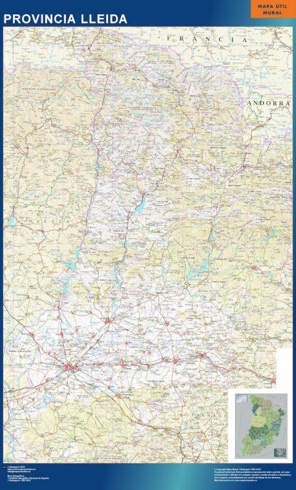 Mapa Provincia Lleida plastificado gigante