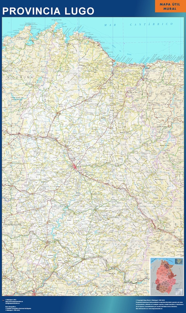Mapa Provincia Lugo plastificado gigante