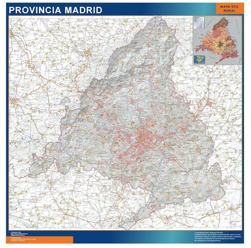 Mapa Provincia Madrid plastificado gigante