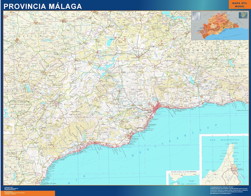 Mapa Provincia Malaga plastificado gigante